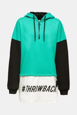 #throwback colour block sweatshirt, 100% cotton, BLACK, detail