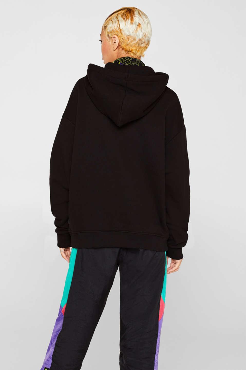 #throwback unisex logo hoodie, 100% cotton, BLACK, detail image number 2