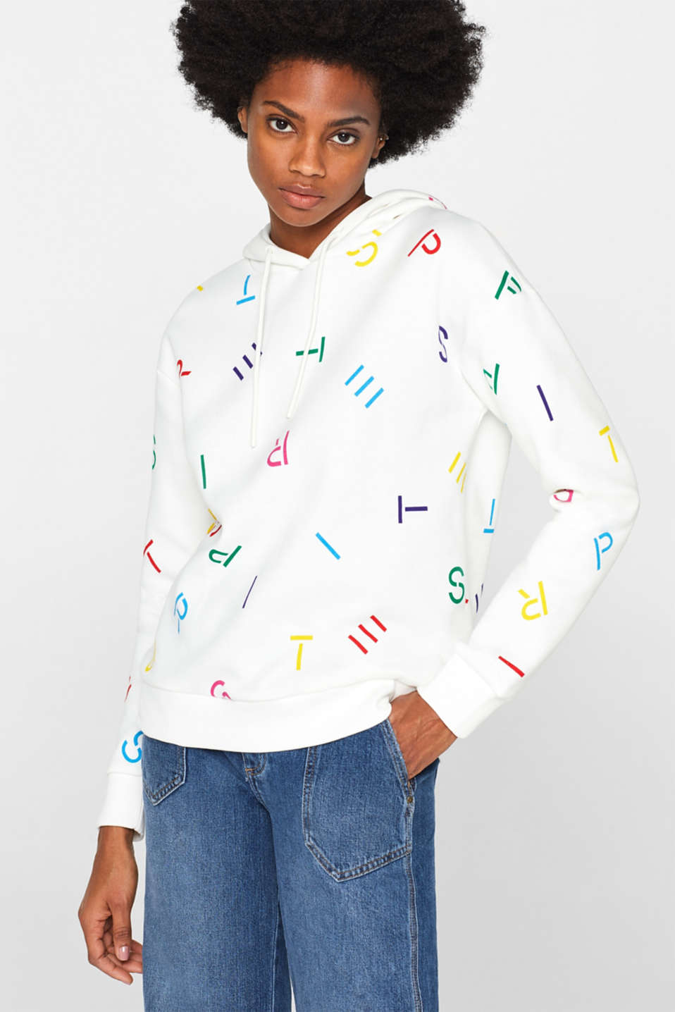 Hooded sweatshirt with a logo print, OFF WHITE, detail image number 0