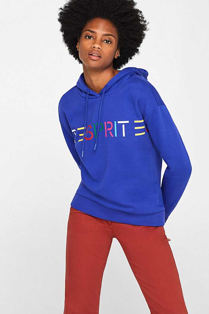 Hooded sweatshirt with a logo print, BRIGHT BLUE, detail image number 0