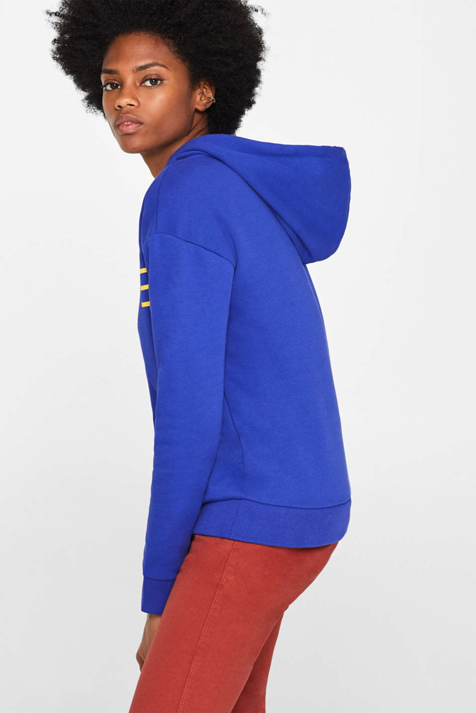 Hooded sweatshirt with a logo print, BRIGHT BLUE, detail image number 4
