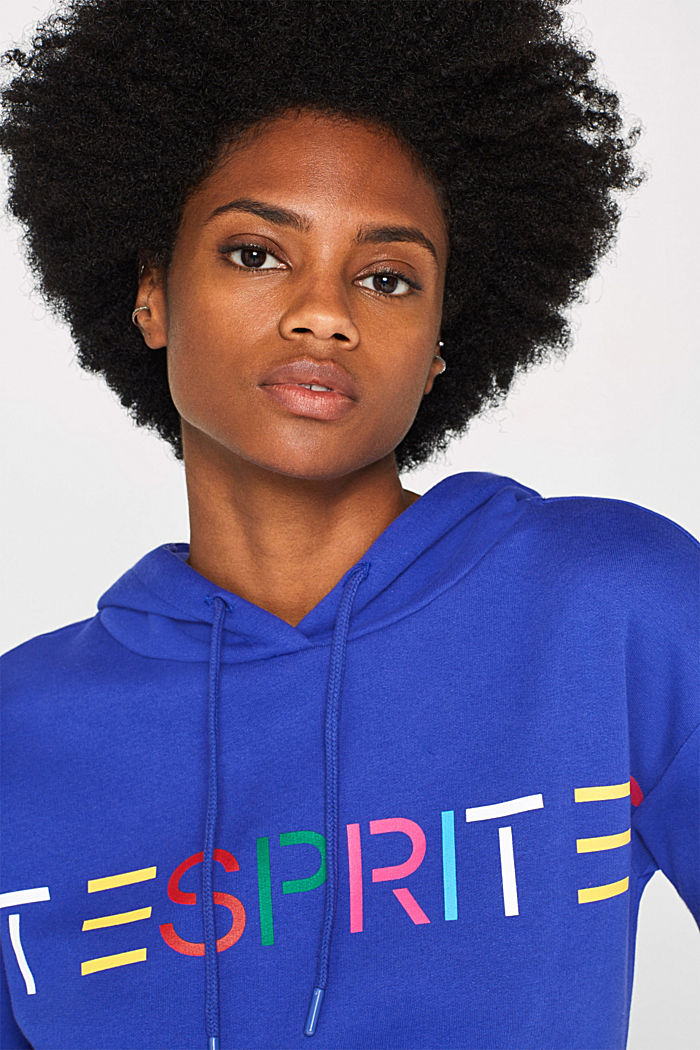 Hooded sweatshirt with a logo print, BRIGHT BLUE, detail image number 2