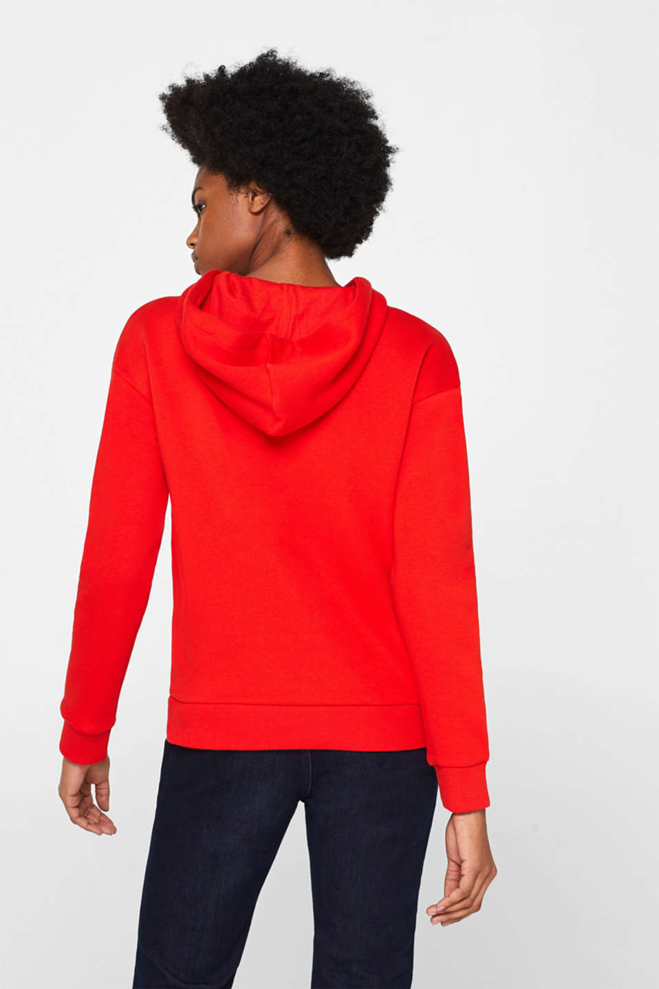 Hooded sweatshirt with a logo print, RED, detail image number 3