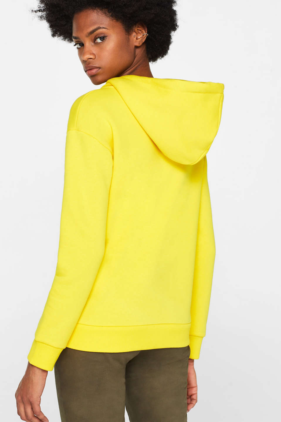 Hooded sweatshirt with a logo print, BRIGHT YELLOW, detail image number 3