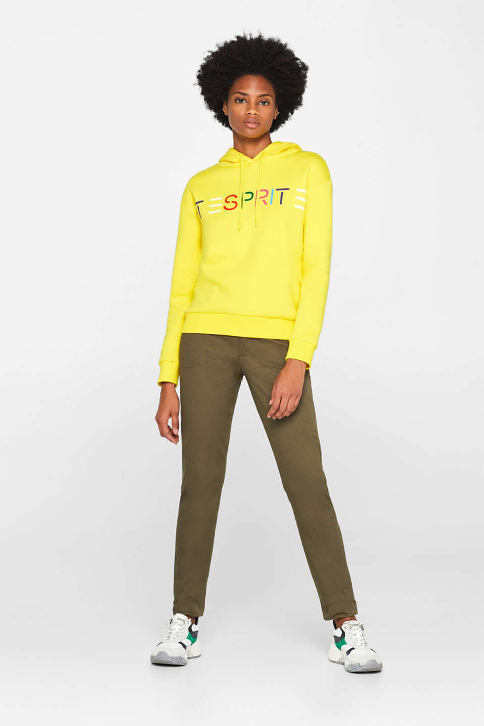 Hooded sweatshirt with a logo print, BRIGHT YELLOW, detail image number 1