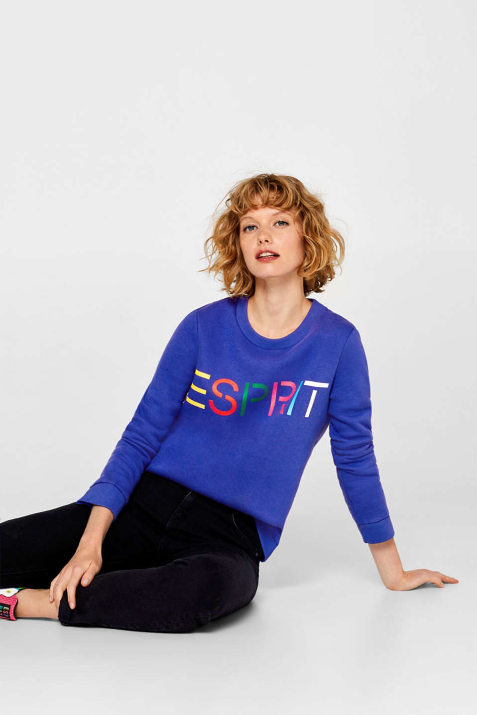 Sweatshirt with a logo print, BRIGHT BLUE, detail image number 0