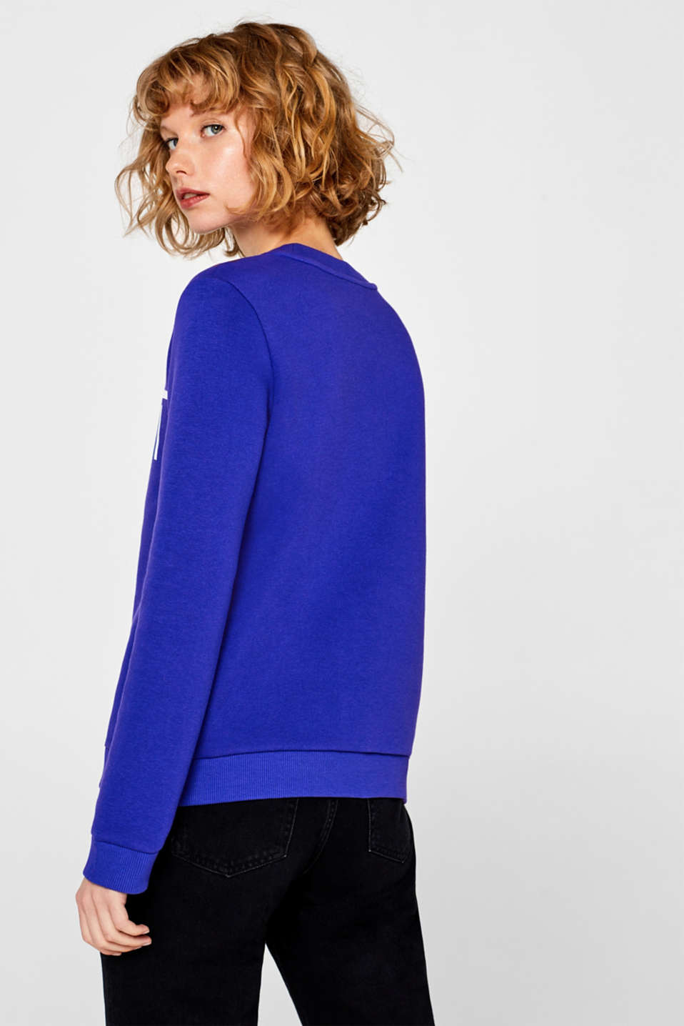 Sweatshirt with a logo print, BRIGHT BLUE, detail image number 3