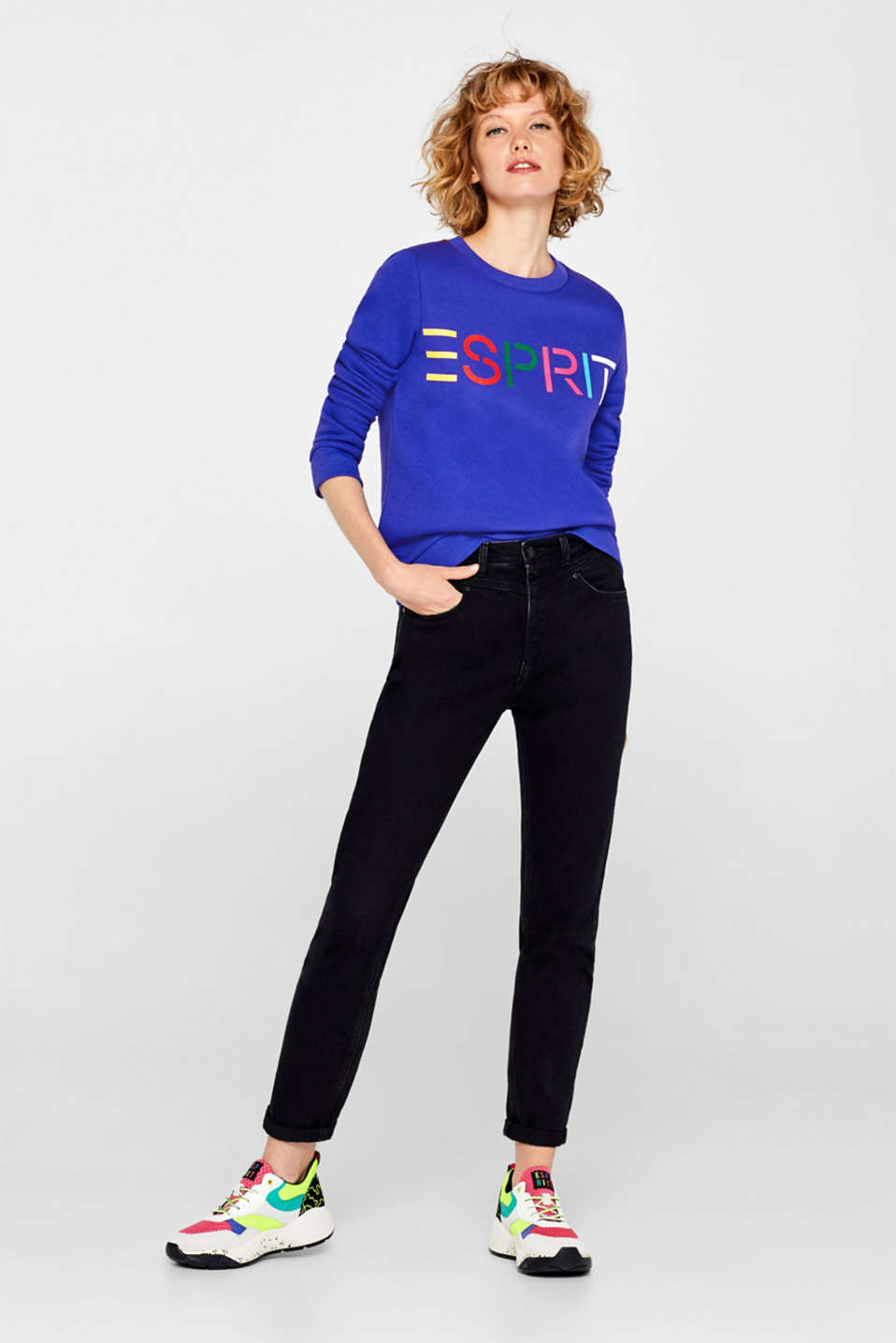 Sweatshirt with a logo print, BRIGHT BLUE, detail image number 1