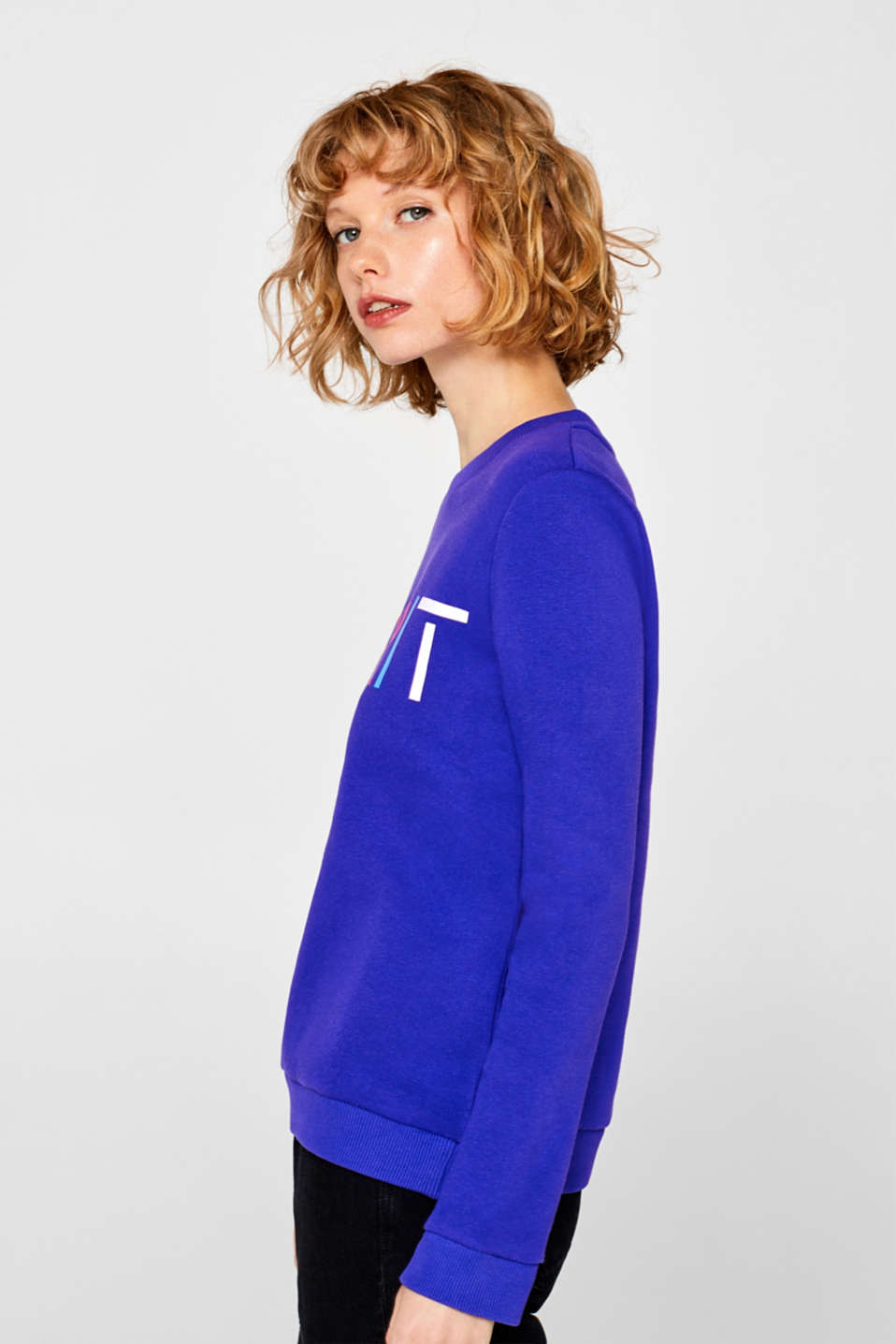 Sweatshirt with a logo print, BRIGHT BLUE, detail image number 2