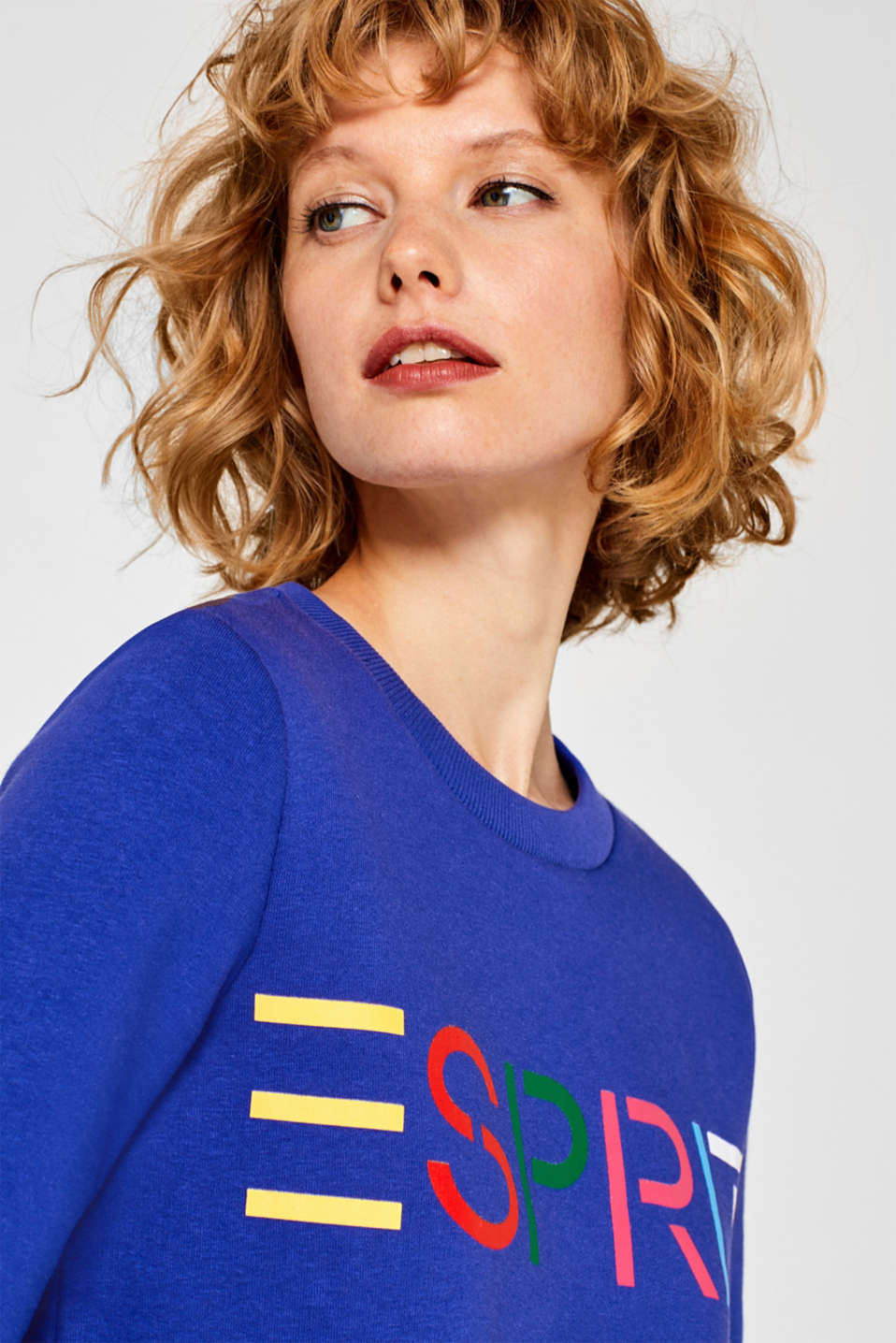 Sweatshirt with a logo print, BRIGHT BLUE, detail image number 5