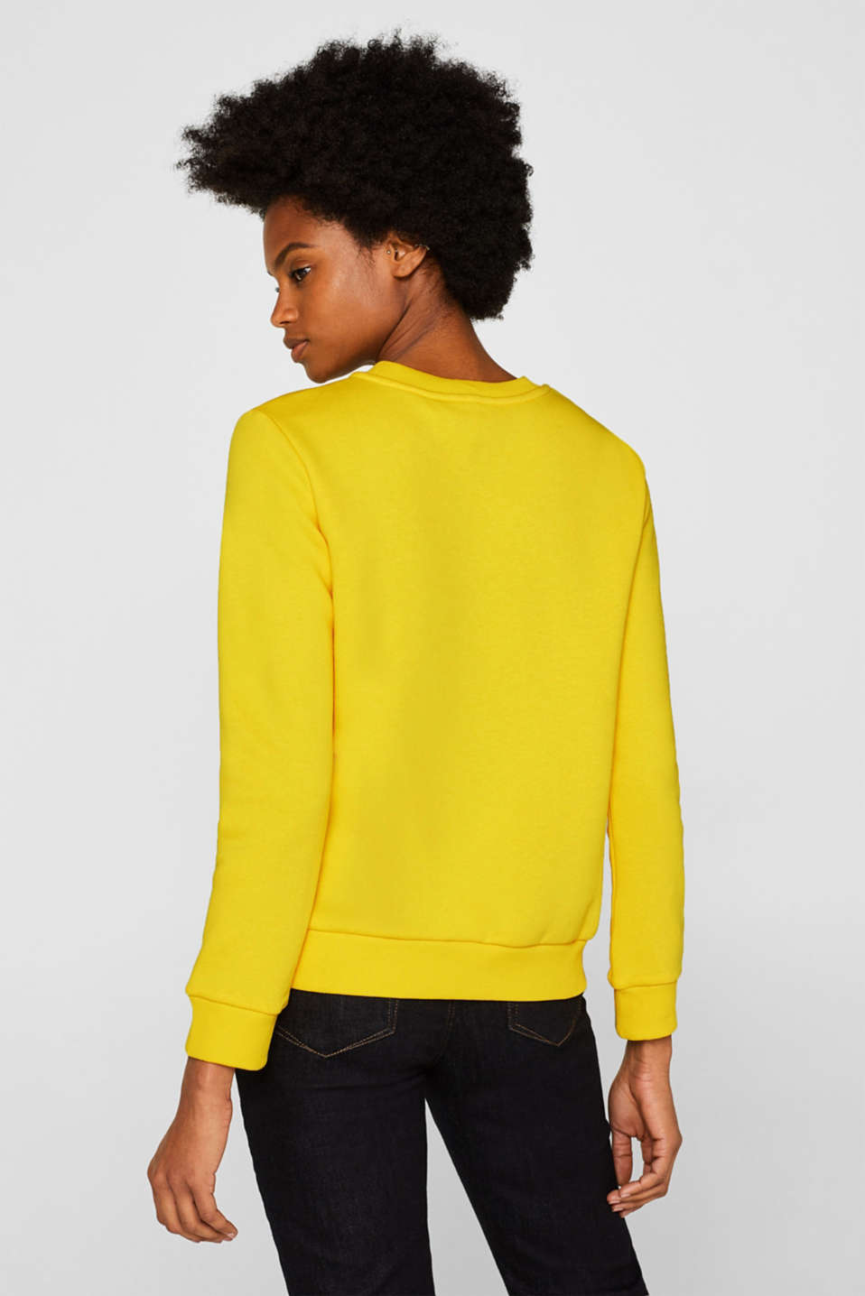 Sweatshirt with a logo print, BRIGHT YELLOW, detail image number 3