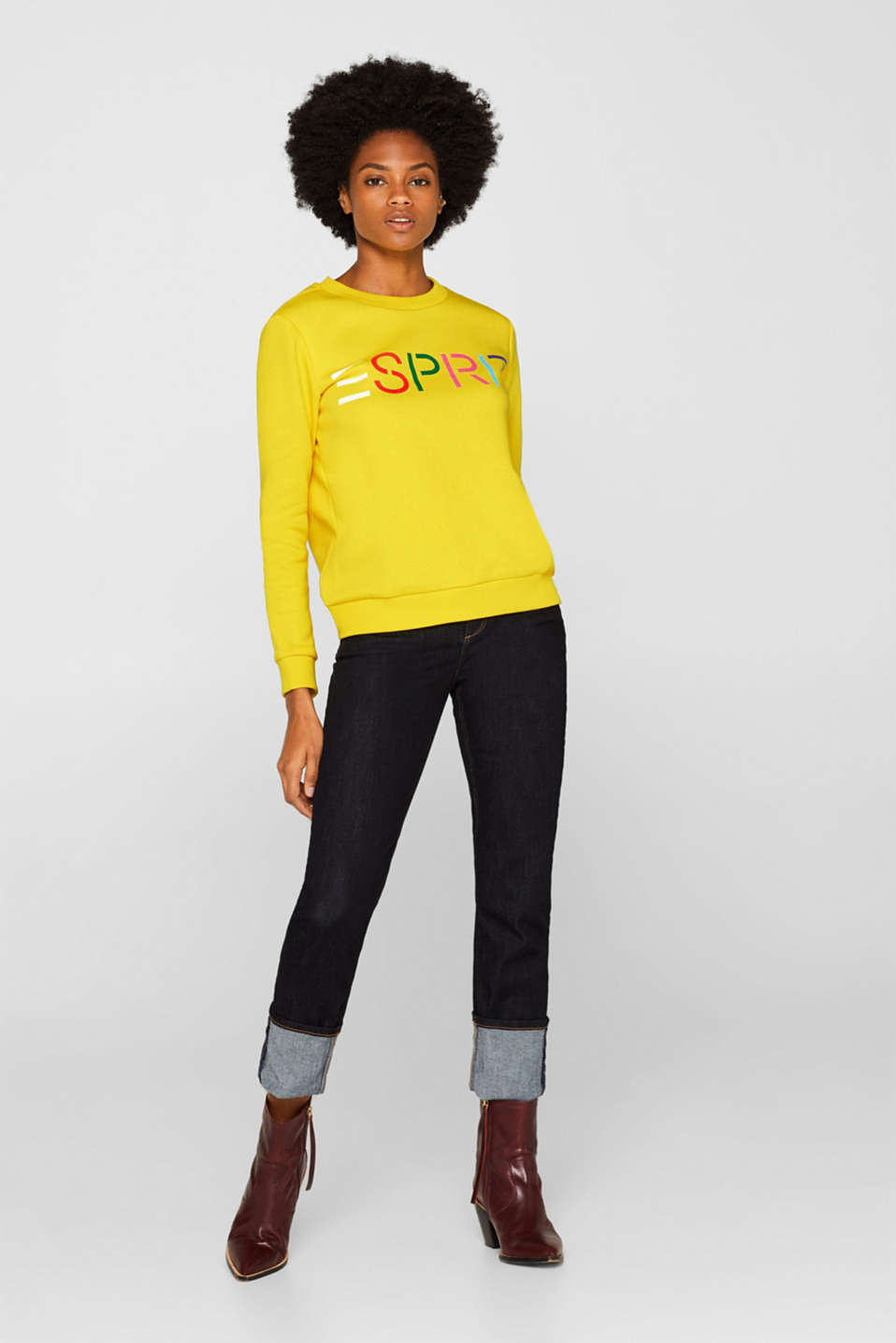 Sweatshirt with a logo print, BRIGHT YELLOW, detail image number 1