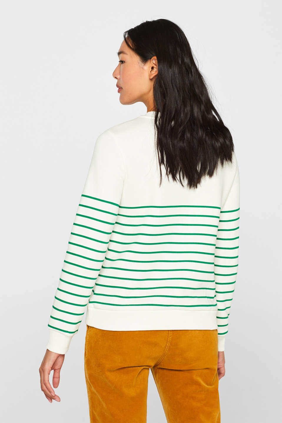Striped sweatshirt with a logo print, GREEN, detail image number 3