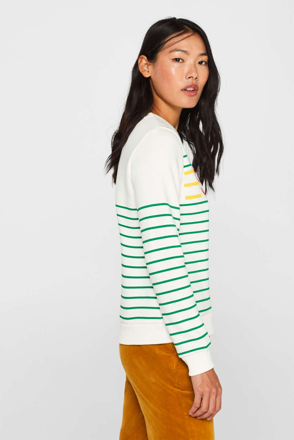 Striped sweatshirt with a logo print, GREEN, detail image number 5