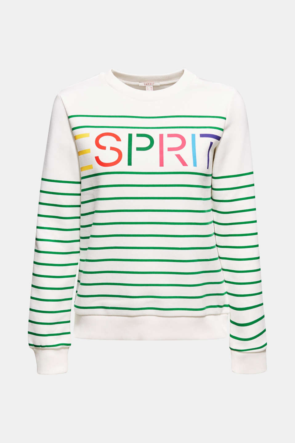 Striped sweatshirt with a logo print, GREEN, detail image number 7