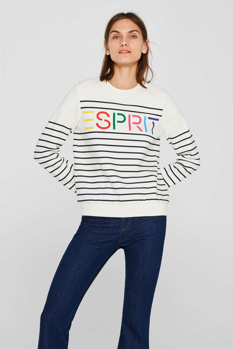 Striped sweatshirt with a logo print, NAVY, detail image number 0