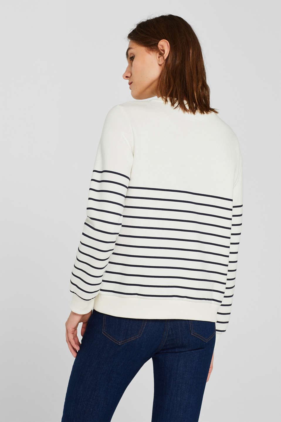 Striped sweatshirt with a logo print, NAVY, detail image number 3