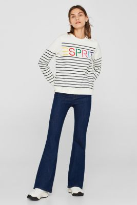 Striped sweatshirt with a logo print, NAVY, detail