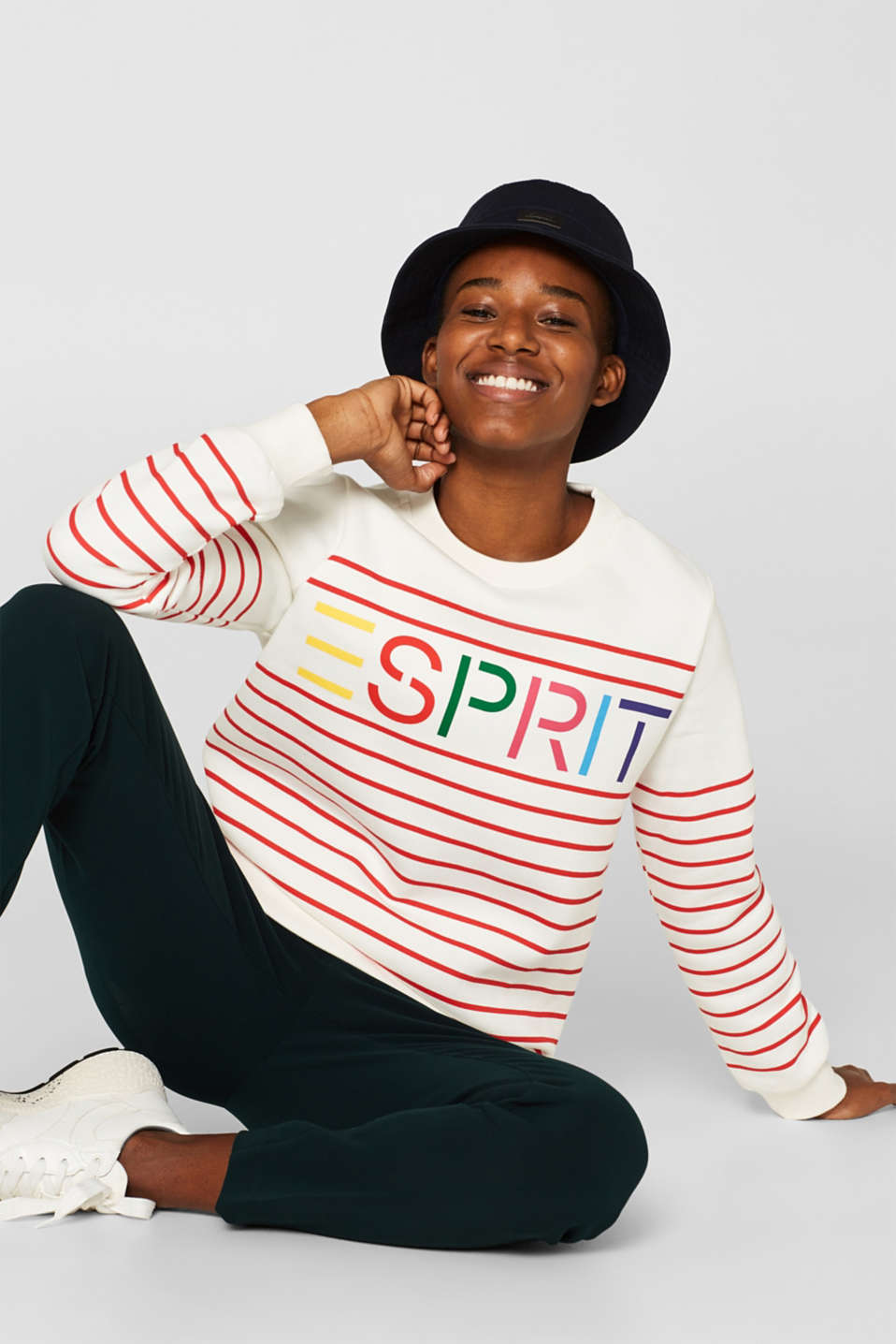 Striped sweatshirt with a logo print, RED, detail image number 0