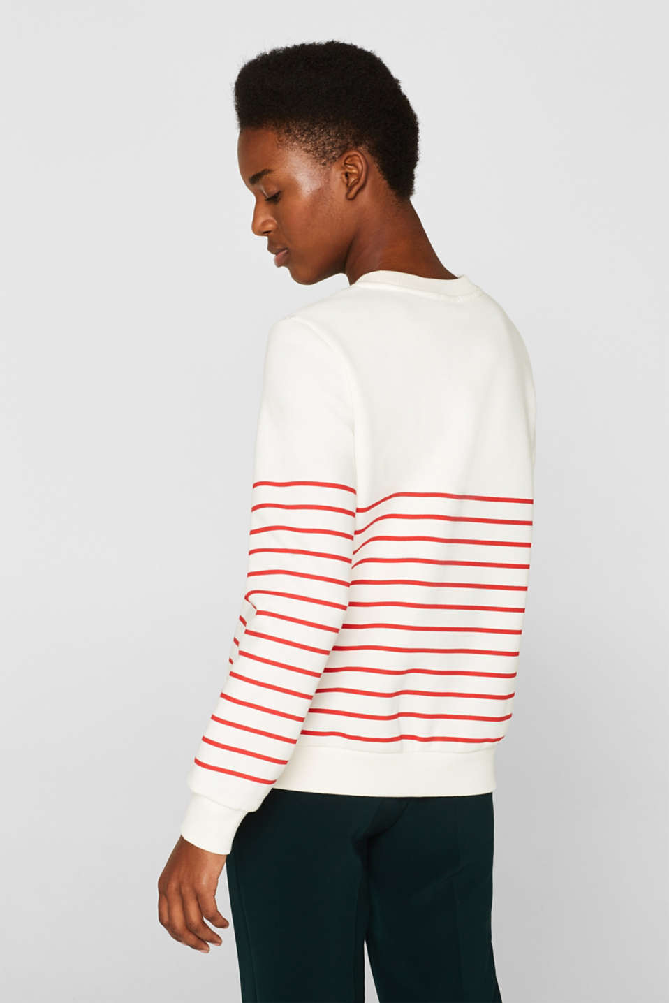 Striped sweatshirt with a logo print, RED, detail image number 3