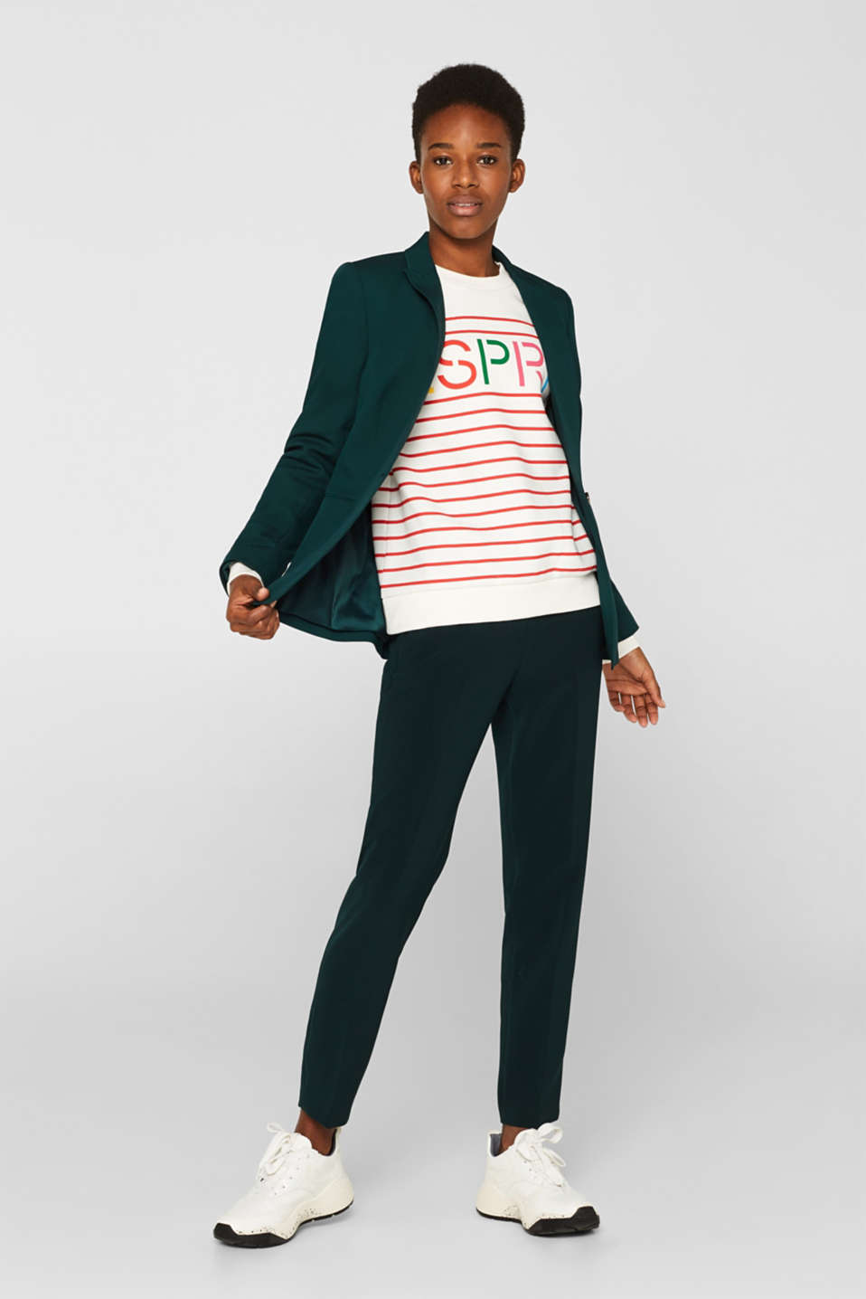 Striped sweatshirt with a logo print, RED, detail image number 1