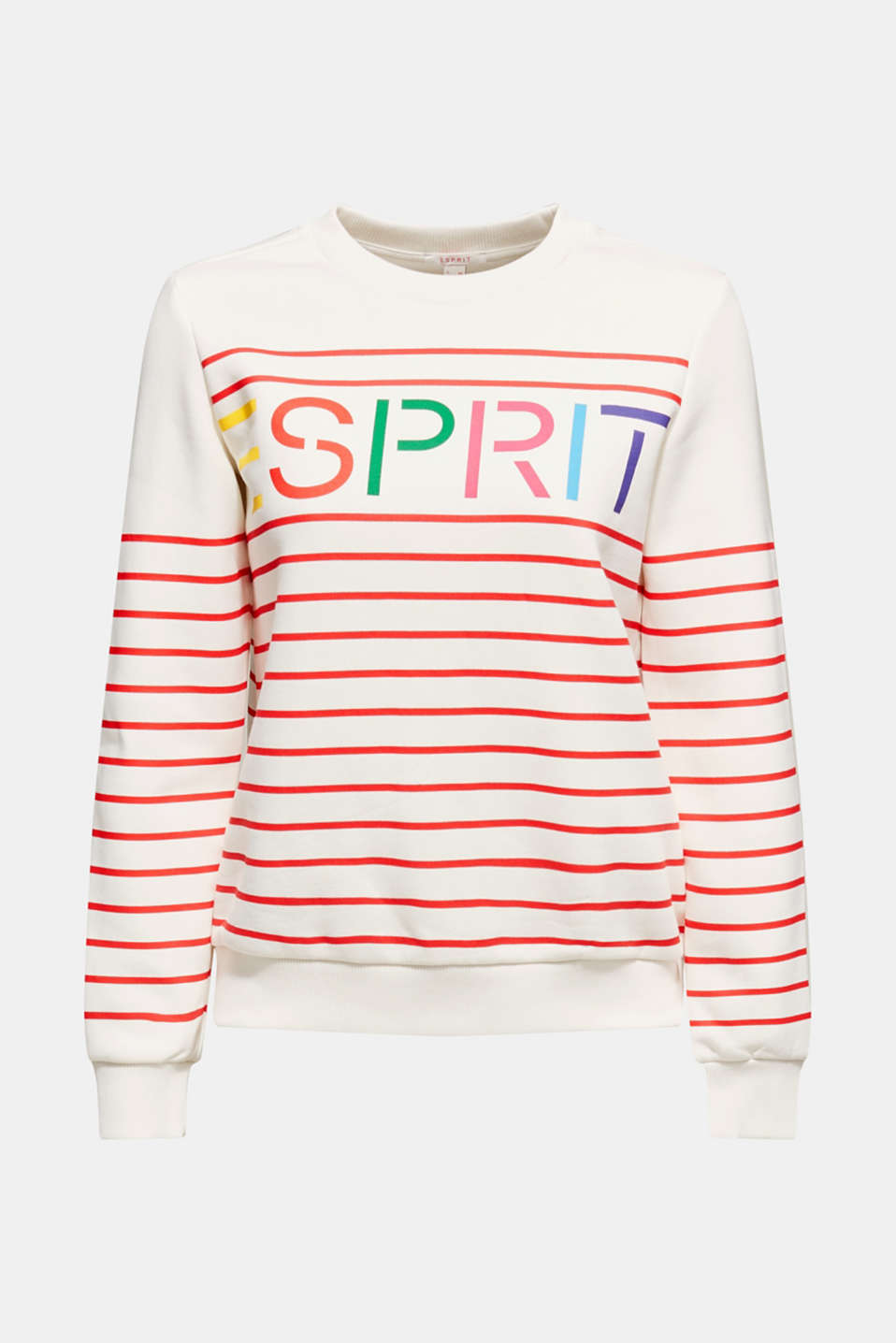 Striped sweatshirt with a logo print, RED, detail image number 5