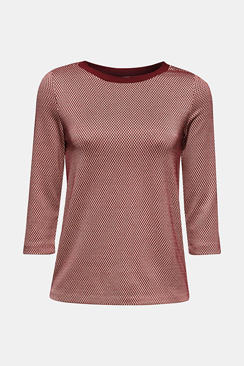 Jacquard top with 3/4-length sleeves