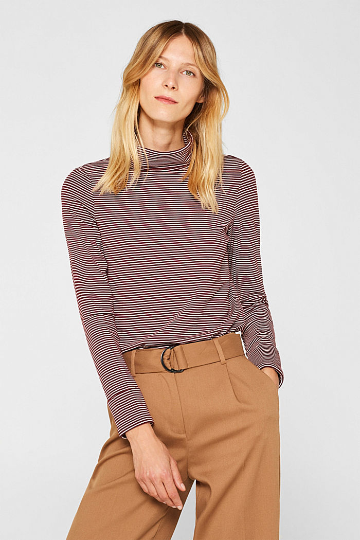 Stretch long sleeve polo neck top, GARNET RED, detail image number 0
