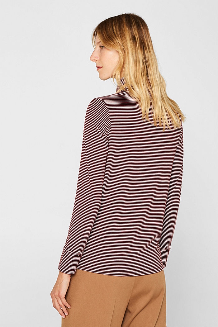 Stretch long sleeve polo neck top, GARNET RED, detail image number 3