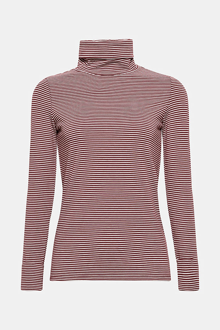 Stretch long sleeve polo neck top, GARNET RED, detail image number 6