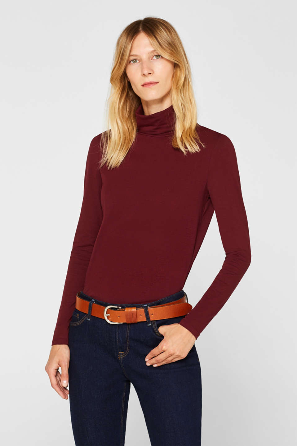 long sleeve polo neck top