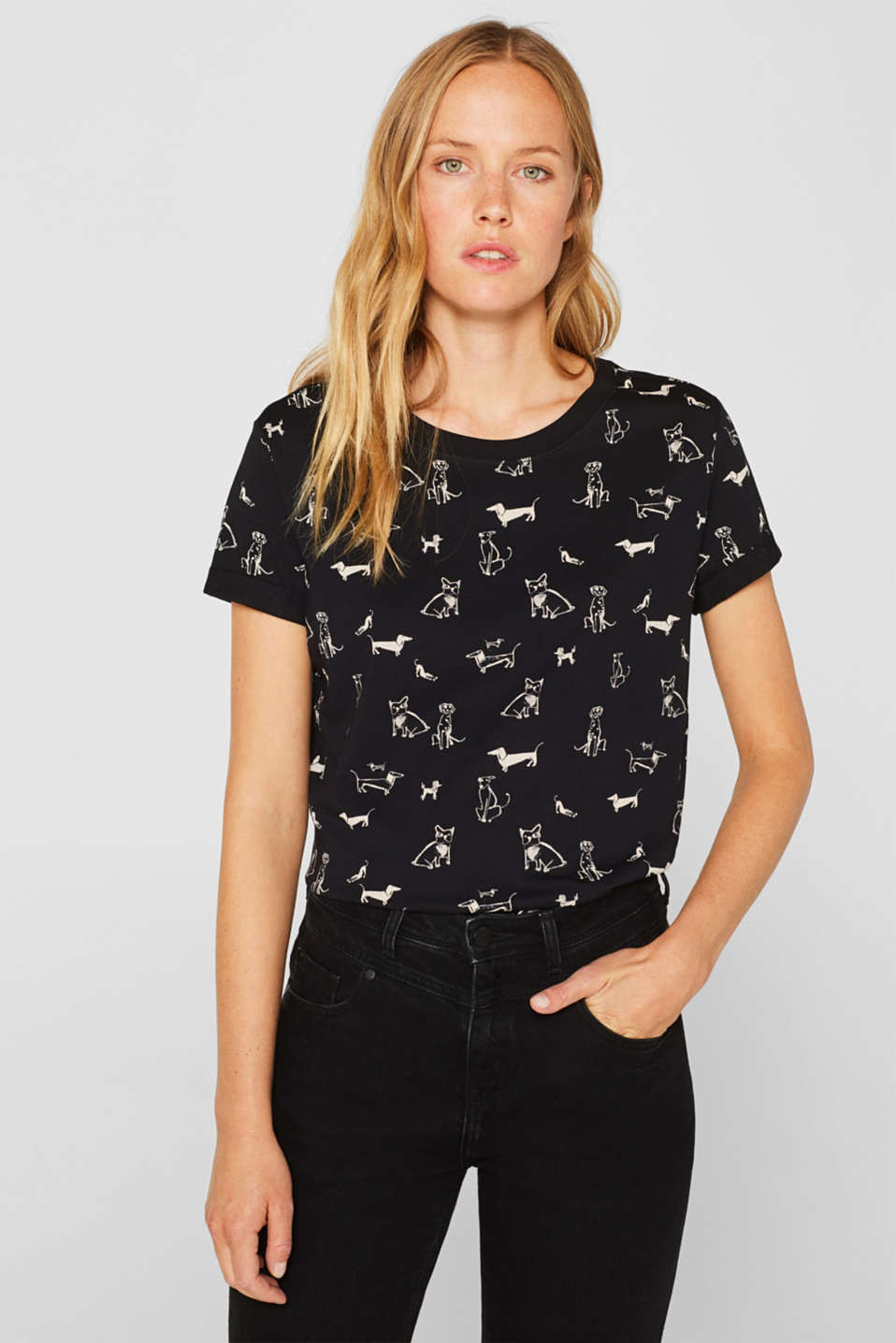 Esprit - Top with an all-over print, 100% cotton
