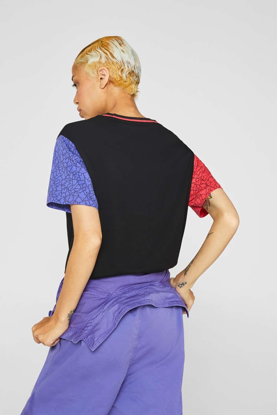 #throwback colour block top, 100% cotton, BLACK, detail image number 3