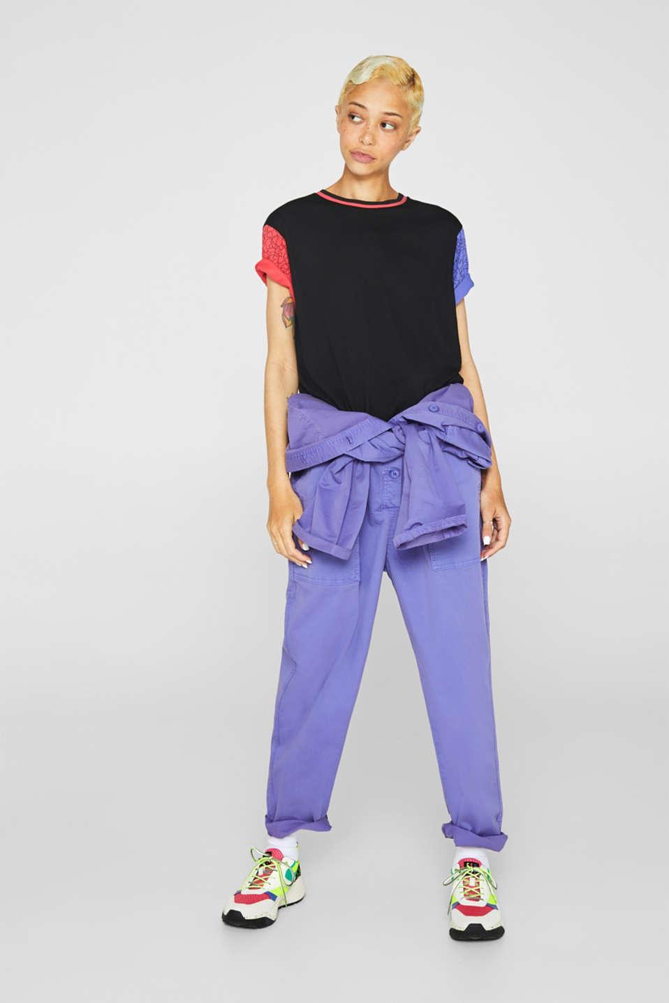 #throwback colour block top, 100% cotton, BLACK, detail image number 1