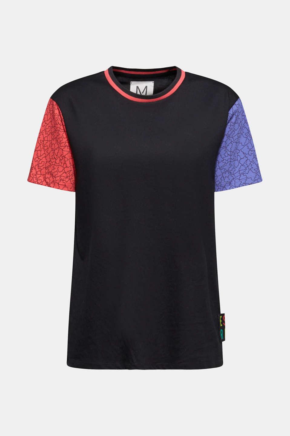 #throwback colour block top, 100% cotton, BLACK, detail image number 6