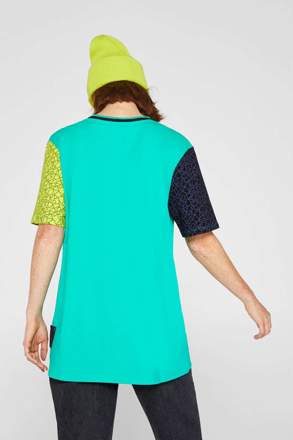 #throwback colour block top, 100% cotton, EMERALD GREEN, detail image number 3