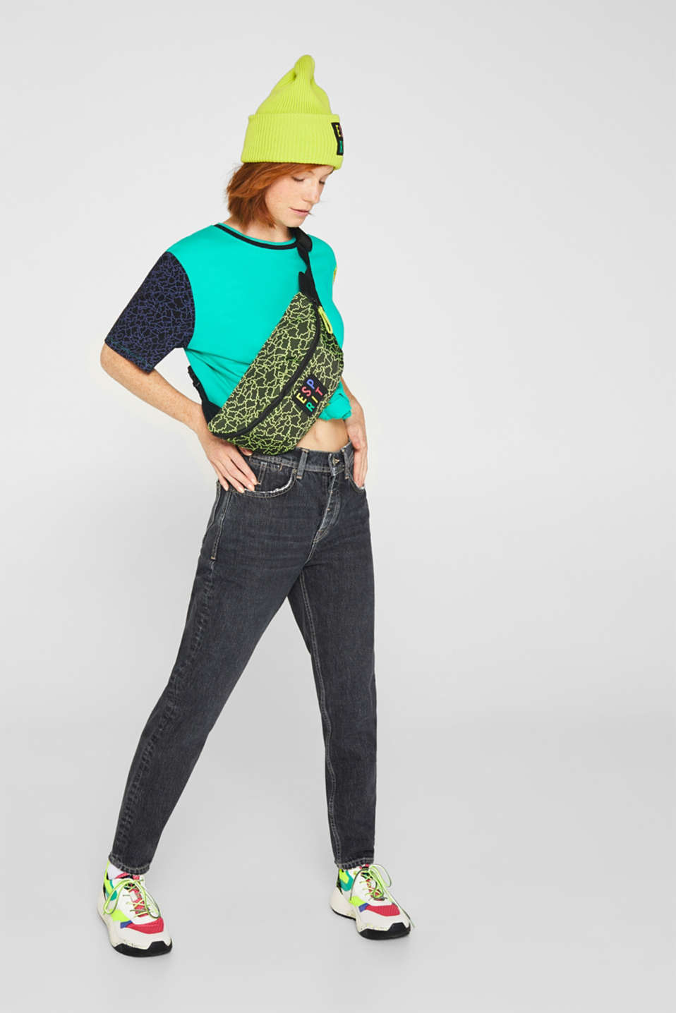 #throwback colour block top, 100% cotton, EMERALD GREEN, detail image number 1