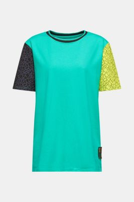 #throwback colour block top, 100% cotton, EMERALD GREEN, detail