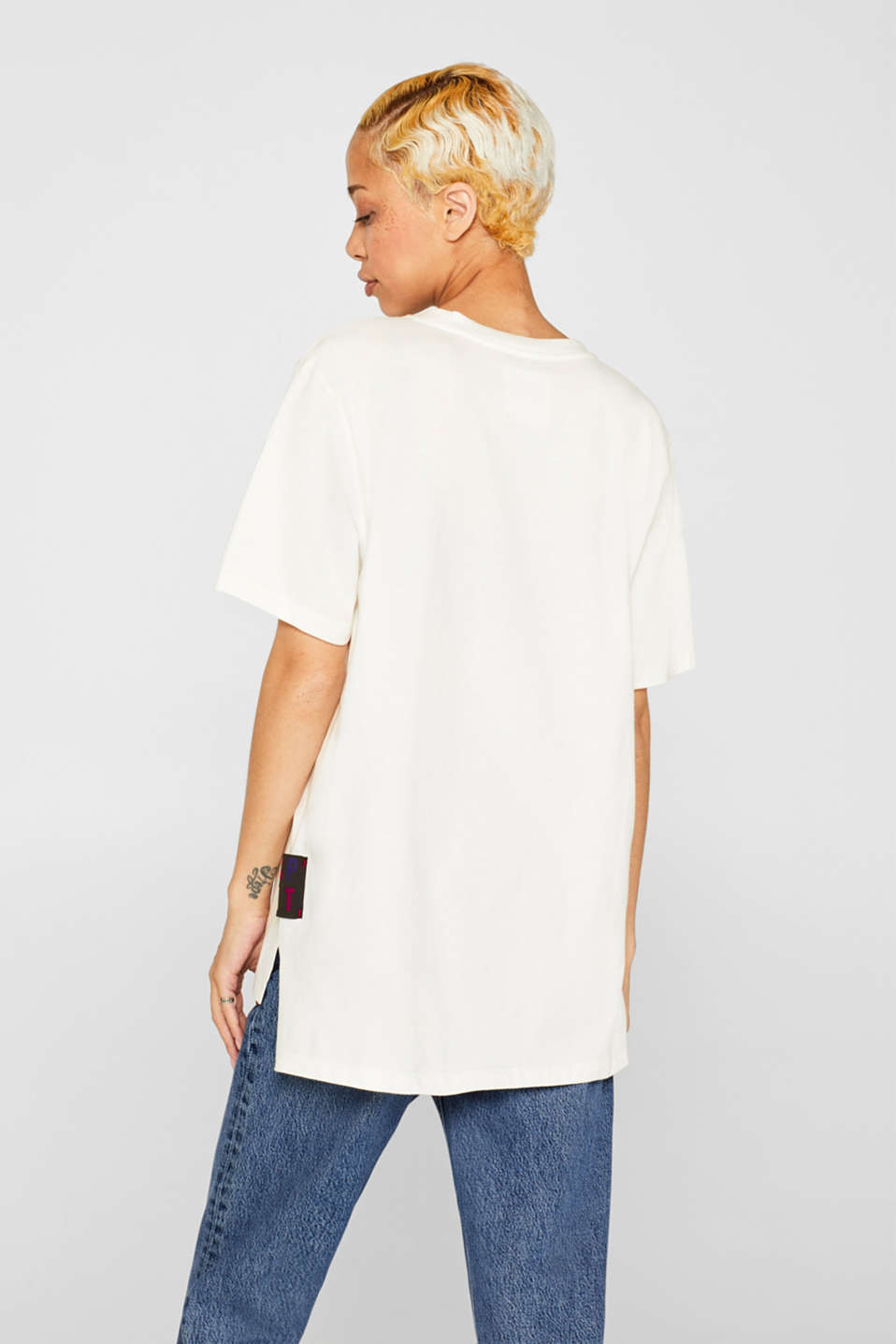 #throwback unisex logo top, 100% cotton, OFF WHITE, detail image number 3