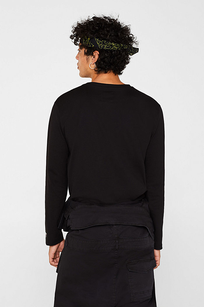 #throwback unisex long sleeve top, 100% cotton, BLACK, detail image number 2