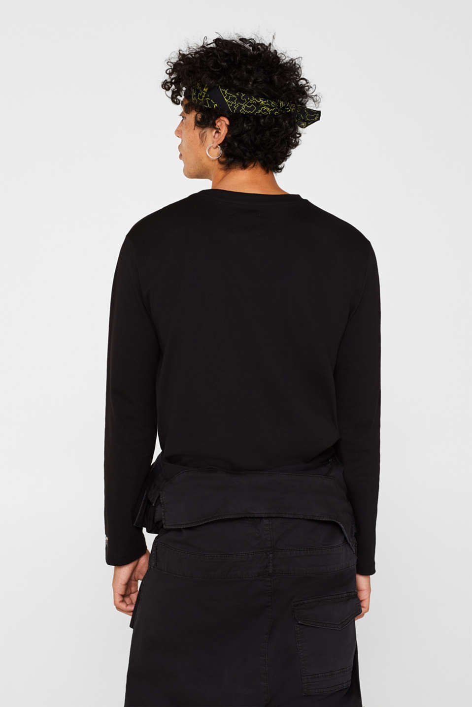 #throwback unisex long sleeve top, 100% cotton, BLACK, detail image number 2