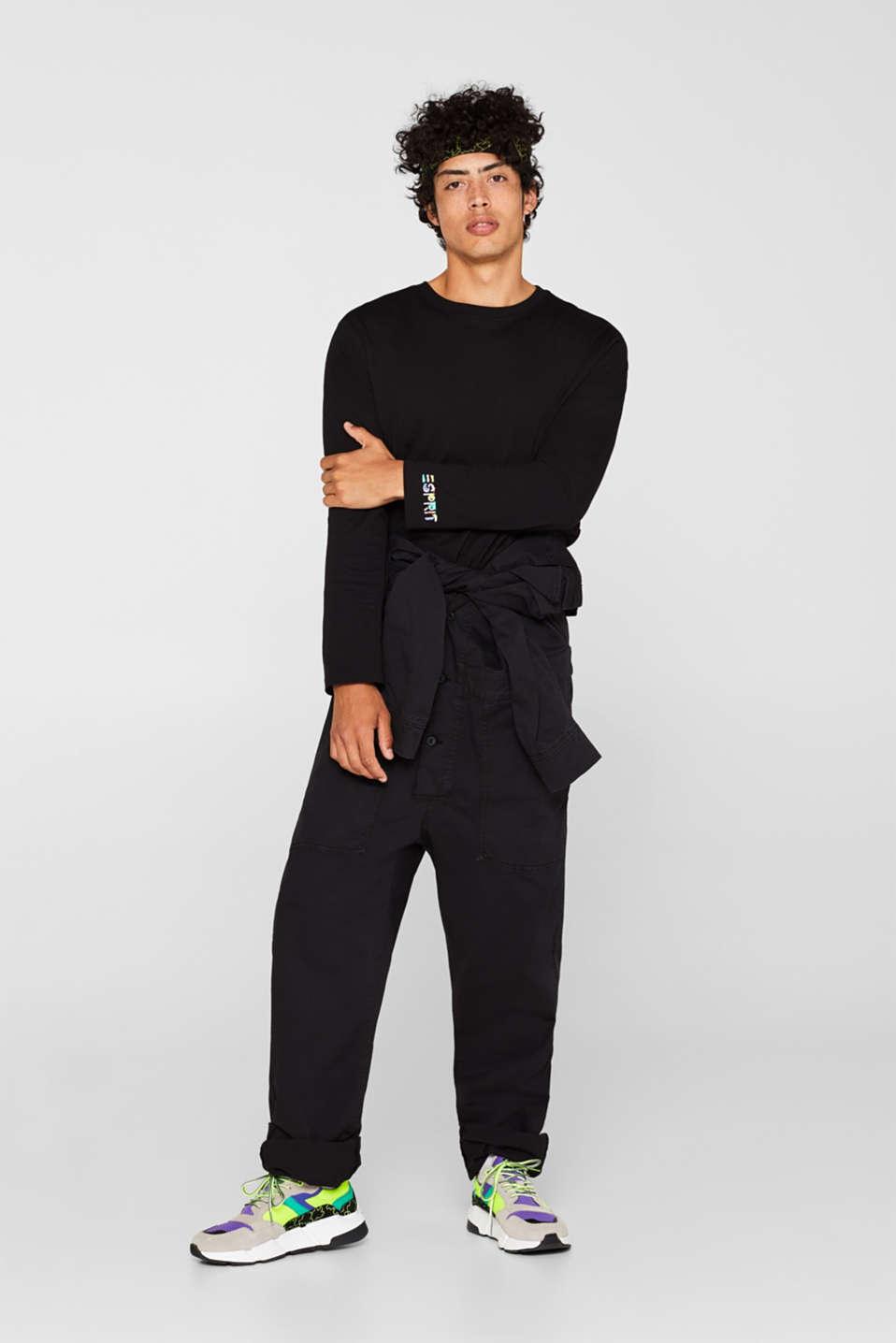 #throwback unisex long sleeve top, 100% cotton, BLACK, detail image number 4