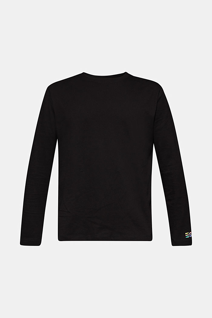 #throwback unisex long sleeve top, 100% cotton, BLACK, detail image number 6
