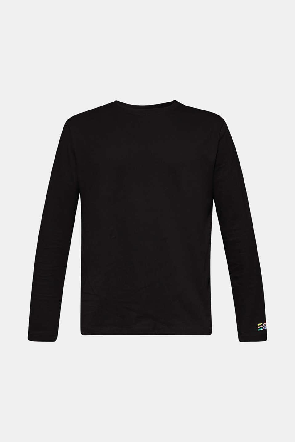 #throwback unisex long sleeve top, 100% cotton, BLACK, detail image number 6