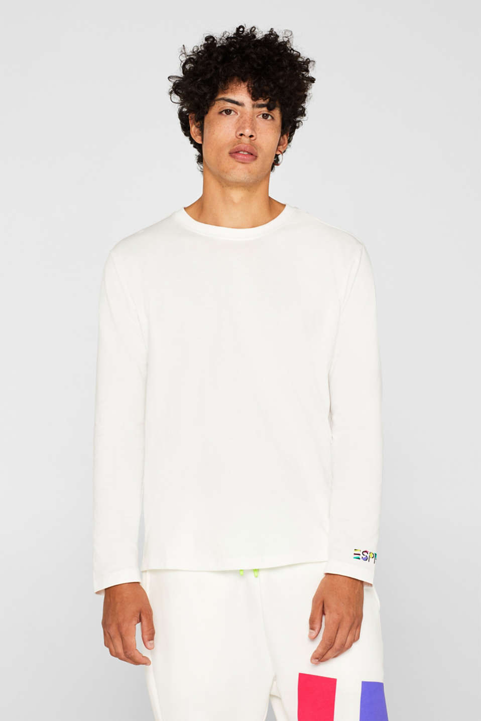 #throwback unisex long sleeve top, 100% cotton, OFF WHITE, detail image number 1