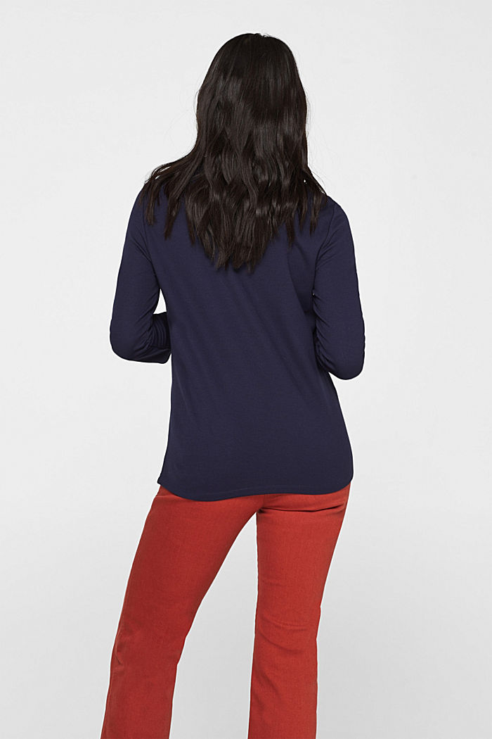 Stretch jersey T-shirt with button details, NAVY, detail image number 3