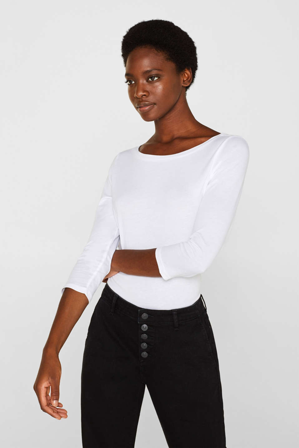 Two-pack: Long sleeve top with organic cotton, WHITE, detail image number 0