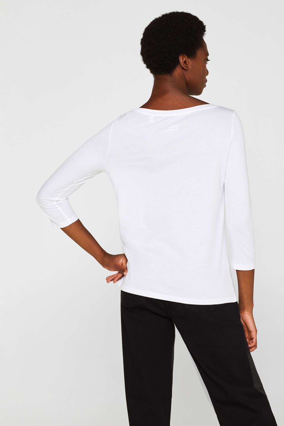 Two-pack: Long sleeve top with organic cotton, WHITE, detail image number 2