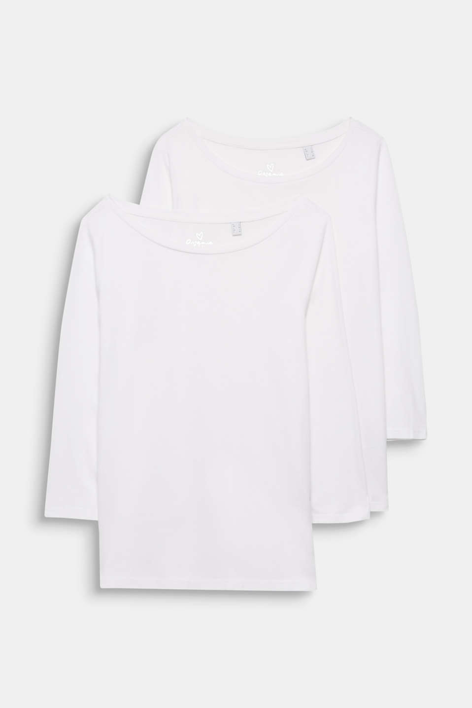 Two-pack: Long sleeve top with organic cotton, WHITE, detail image number 4