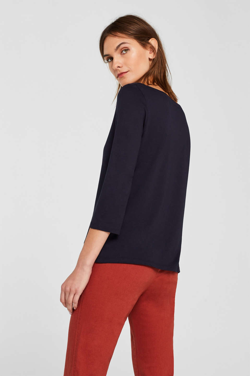 Two-pack: Long sleeve top with organic cotton, NAVY, detail image number 2